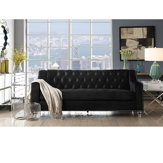 Buy Tegla Velvet Button Tufted Sofa Lucite Acrylic Legs