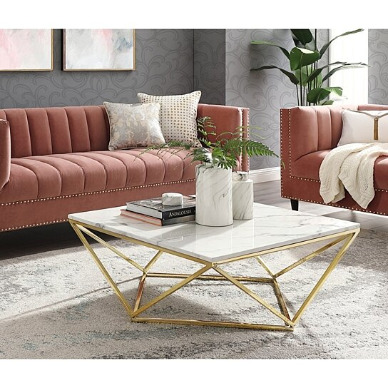 Jeremias Marble Coffee/ End Table - Square | Metal Geometric Frame | Modern  Design | Inspired Home