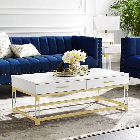 Miraculous Jerome Coffee Table High Gloss Acrylic Legs Metal Base Modern Design Pabps2019 Chair Design Images Pabps2019Com