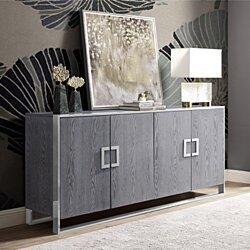 Kahula Sideboard - 4 Doors | Gold or Chrome Handle and Metal Frame in Veneer Finish