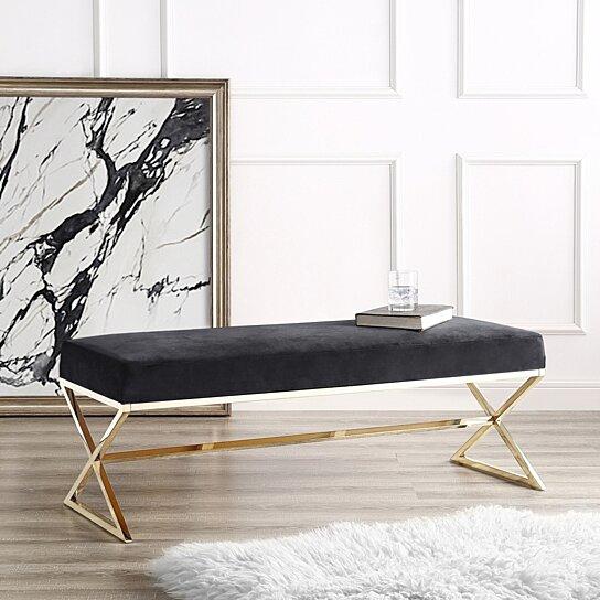 Liam Velvet Upholstered Bench - Stainless Steel Legs | Living-room,  Entryway, Bedroom | Inspired Home