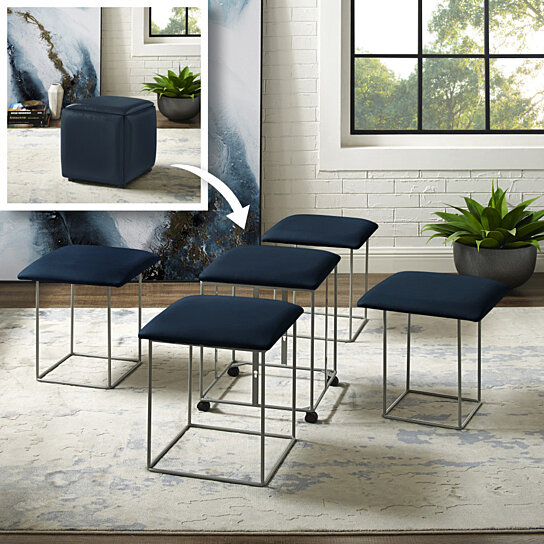 Pleasing Loft Lyfe 5 In 1 Ottoman Design Kace Pu Leather Caster Legs Ncnpc Chair Design For Home Ncnpcorg