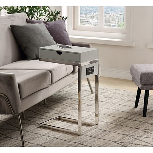 Loft Lyfe Samir Chrome or Gold Base C-Table with Drawer, USB Port & Wall Plug