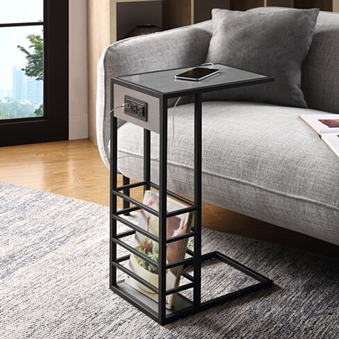 Loft Lyfe Thatcher Black or White Base C-Table | Magazine Holder | USB Port & Wall Plug