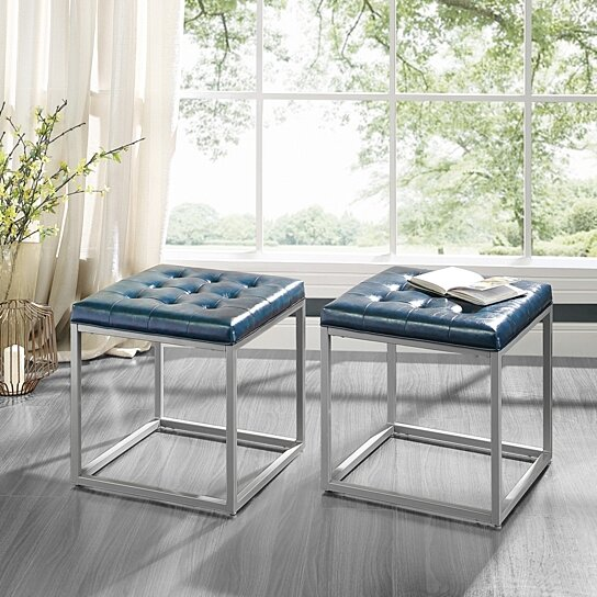 best service da11a e3ed0 Logan Cube Ottoman | PU Leather | Button Tufted | Metal Frame | Living-room  Entryway | Modern & Contemporary by Inspired Home