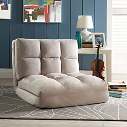 Loungie® Beige Microsuede Flip Chair - 5 Position Adjustable | Sleeper | Dorm Bed | Lounger Seat or Sofa | Portable