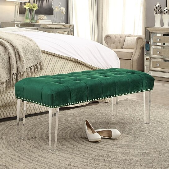 Marinell Velvet Upholstered Bench Modern Acrylic Legs Tufted Nailhead And Contemporary Inspired Home By On Dot Bo