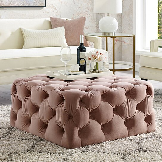 Buy Mauricio Velvet Or Linen Cocktail Ottoman Allover Tufted Square Castered Legs By Inspired Home By Inspired Home On Dot Bo