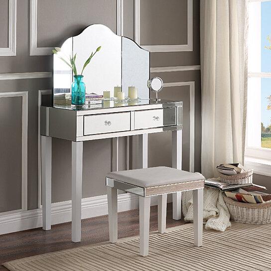 Milano Mirrored Vanity Set 2 Drawers 3 Piece Corner Option Inspired Home