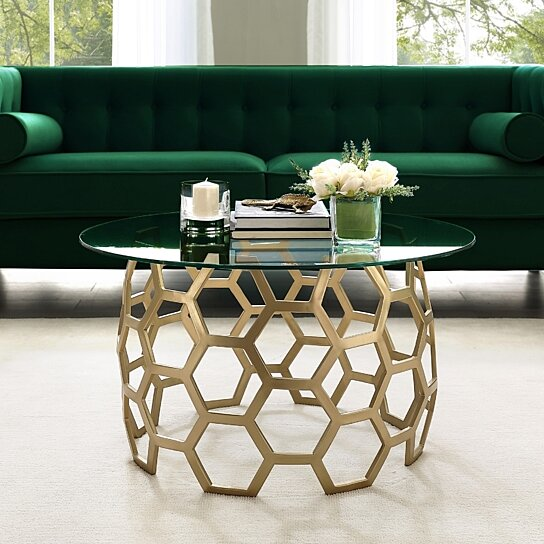Prime Minae Round Geometric Coffee Table Durable Clear Glass Top Hexagon Metal Frame By Inspired Home Andrewgaddart Wooden Chair Designs For Living Room Andrewgaddartcom