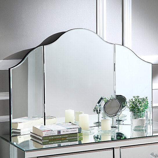. Mokella Tri fold Tabletop Vanity Mirror   Frameless   Modern and  Contemporary   Inspired Home
