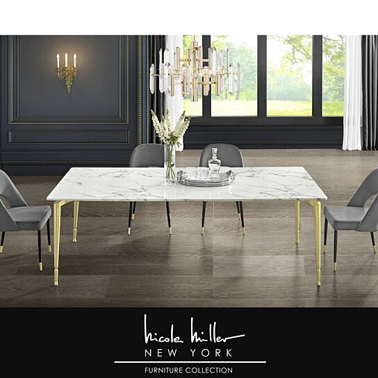 Buy Nicole Miller Bridger Dining Table Marble Top Gold