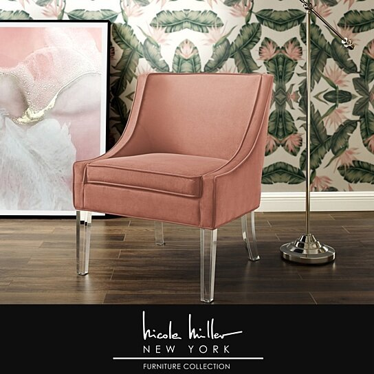 Phenomenal Nicole Miller Jaturat Velvet Accent Chair With Acrylic Legs Bralicious Painted Fabric Chair Ideas Braliciousco