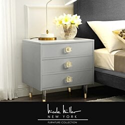 Nicole Miller Marell Nightstand - 3 Drawers |  High Gloss | Acrylic Knob and Leg | Modern Contemporary