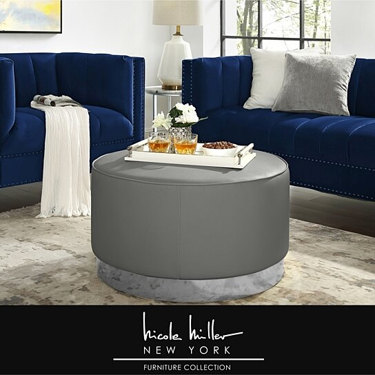 Magnificent Nicole Miller Zyaire Leather Or Velvet Cocktail Ottoman With Chrome Or Gold Trim Base Short Links Chair Design For Home Short Linksinfo