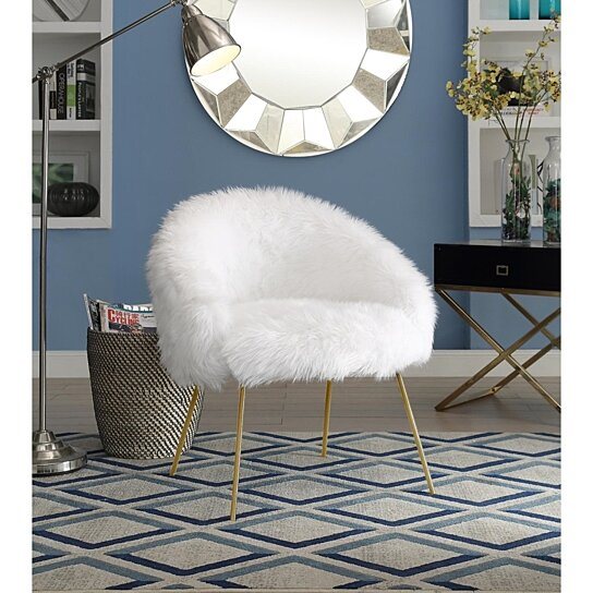 Buy Pamela Faux Fur Accent Chair Metal Legs Glam