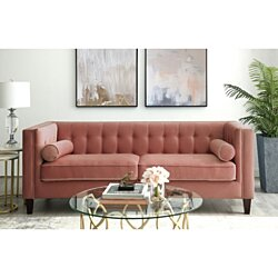 Pax Velvet Button Tufted Sofa - Espresso Tapered Legs | Square Arms | By Inspired Home