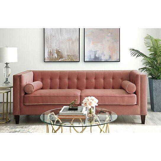 Pax Velvet On Tufted Sofa