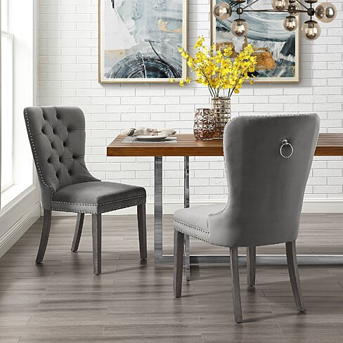 Rory Velvet or Linen Dining Chair - Set of 2 | Tufted | Ring Handle | Nailhead Trim by Inspired Home