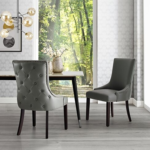 Ruben Leather PU or Velvet or Linen Dining Chair - Set of 2 | Tufted | Nailhead Trim by Inspired Home