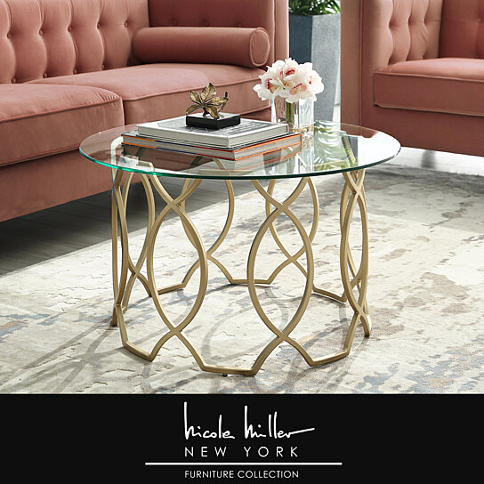 Elegant Glass And Metal Coffee Table: Buy Sikara Round Modern Coffee Table