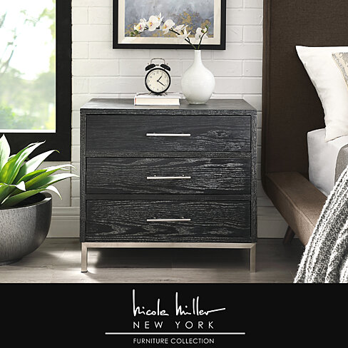 Treni 3 Drawers Nightstand - T-Bar Handle | Stainless Steel Base | Wood Finish | By Nicole Miller