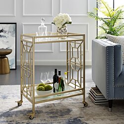 Wen Serving Bar Cart - 2 Tempered Glass Shelves | Casters/ 2 Locking | Cast Iron Frame | Inspired Home