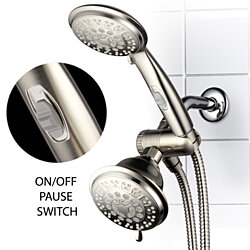 HotelSpa 42 Setting Brushed Nickel Shower Combo with ON/OFF Pause Switch