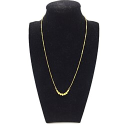 18K Yellow Gold Bar and Beads Fancy Ladies Necklace (286)