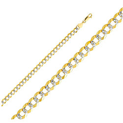 Men's 14KT Yellow Gold Cuban Pave-Link Chain Necklace (4mm-5mm/ 18Inch-24Inch)