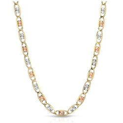 Women's 14KT Tri Color Diamond-Cut Gold Valentino Chain Necklace
