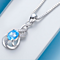Estate Modernist 2CTW Genuine Oval Cut AAA zircon Pendant Necklace In White Gold Filled