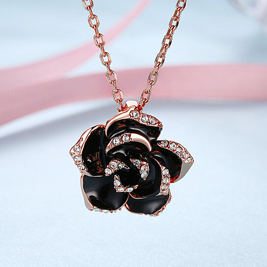 Buy romantic rose gold white gold color rose flower necklace buy romantic rose gold white gold color rose flower necklace pendant for women female girl jewelry gift by jade linker on opensky mightylinksfo