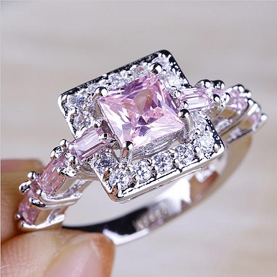 buy size 6 7 8 9 10 beautiful princess cut pink clear cz