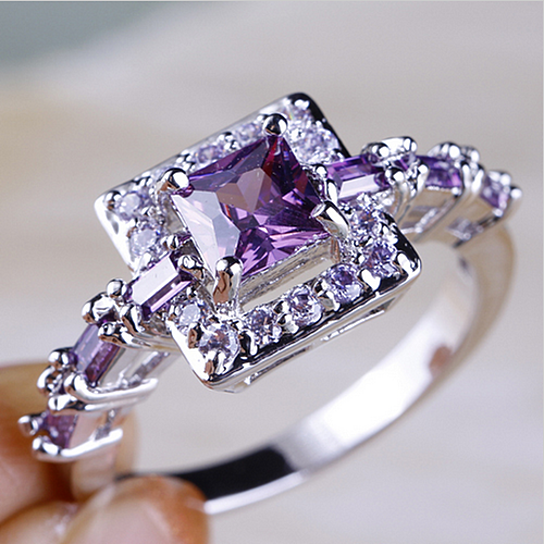 buy size 6 7 8 9 10 beautiful princess cut purple clear cz