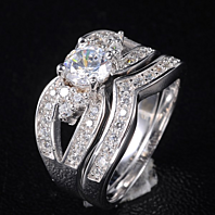 Size 6/8/9/10,  3.25ct AAA CZ Engagement/Wedding Ring Set