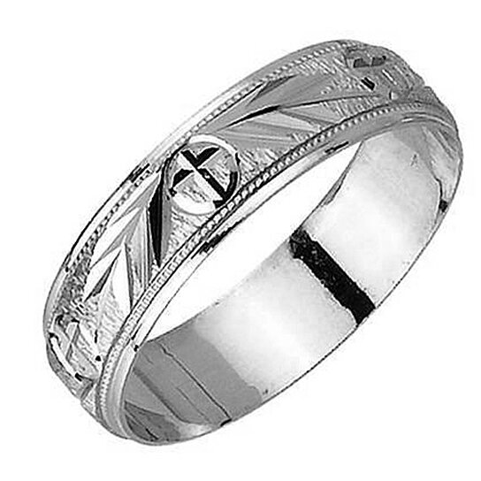 Buy 14k Christian Wedding Ring White Gold Carved Religious Cross
