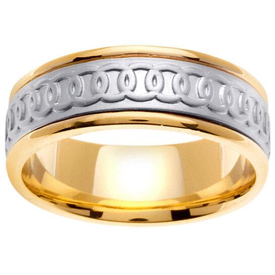 buy 14k two tone gold celtic wedding ring band linked