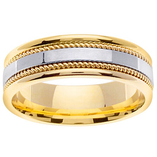 Buy 14k Two Tone Gold Unique Wedding Ring Band White