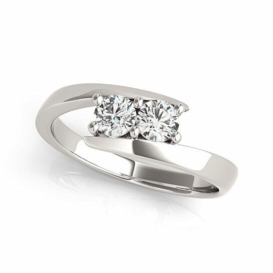 Buy I Love Us Two Stone Ring 1 8 Ct Tw Diamonds 14k White