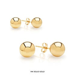 JewelMore 14-Karat Solid Gold Ball Stud Earrings 6MM