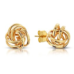 Lovely Love Knot Stud Earrings in Warm 14k Yellow Gold, Made In USA