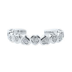 925 Silver Love Hearts Design Adjustable Toe Ring In 14k White Gold Finish