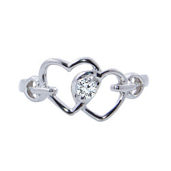 Valentine's Special White Solitaire Round Cut 925 Sterling Double Heart Toe Ring