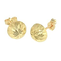 14k Yellow Gold Half Ball Stud Earrings Laser Cut Design High Polish