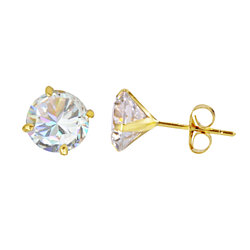 14k Yellow Gold Round CZ Cubic Zirconia Stud Earrings