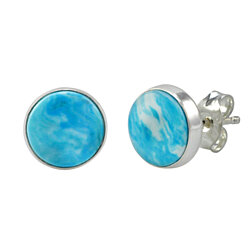 Sterling Silver Larimar Earrings Gemstone Studs 9mm Round