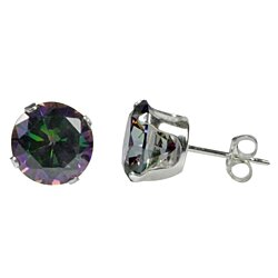 Sterling Silver Mystic Topaz Stud Earrings Cubic Zirconia Prong Set 3mm-10mm