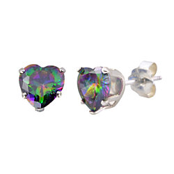 Sterling Silver Rainbow Mystic Topaz CZ Heart Stud Earrings