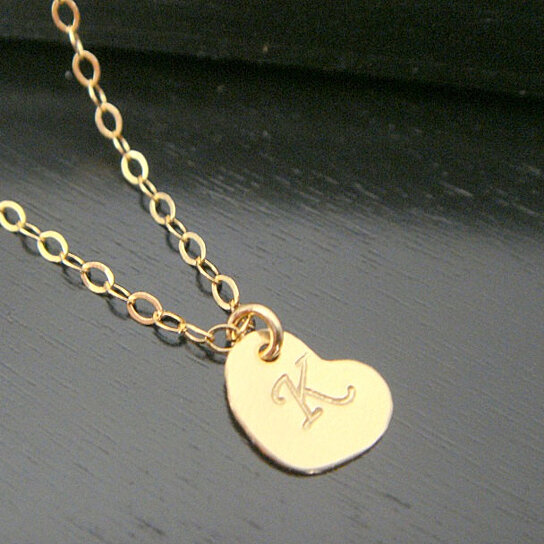 Buy All 14 KT Gold Filled Alphabet Letter Heart Charm Necklace Disc Bridesmaid A B C D E F G H I J K L M N O P R S T U V W Y Z By Jewelry